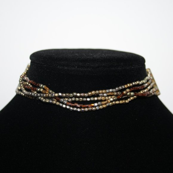 Silver gold & brown choker beaded necklace